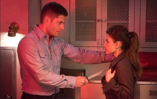 Supernatural 11.14 - Dean, stuck in 1943, prepares himself to cut through the sigil on Delphine.