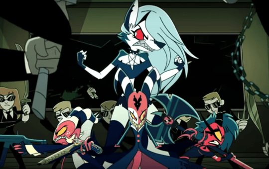 Moxxie, Millie, Blitzo, and Loona prepare to fight humans