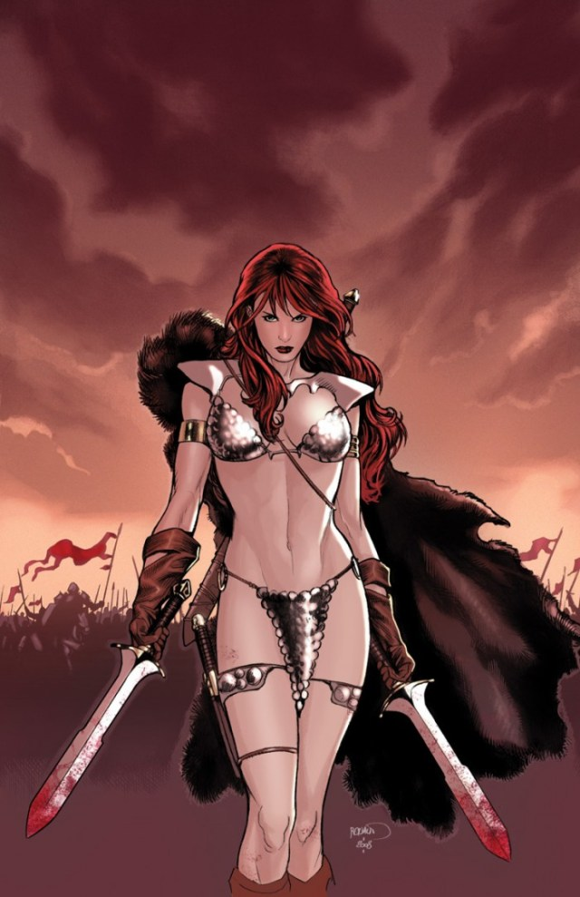 Red Sonja in battle by Paul Renaud