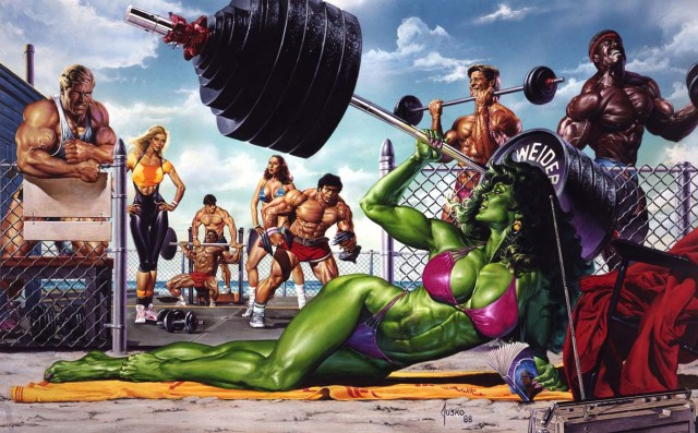 She Hulk on Muscle Beach by Joe Jusko