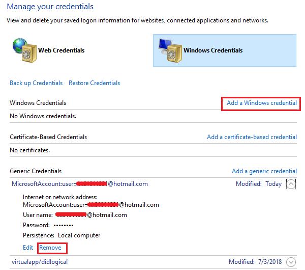 Add Windows Credentials