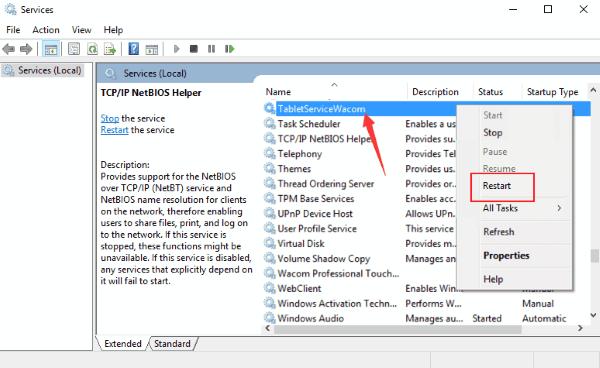 Restart Services Wacom Pen Not Working Windows 10
