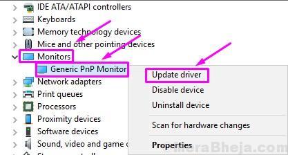 Update Driver Generic Pnp Monitor