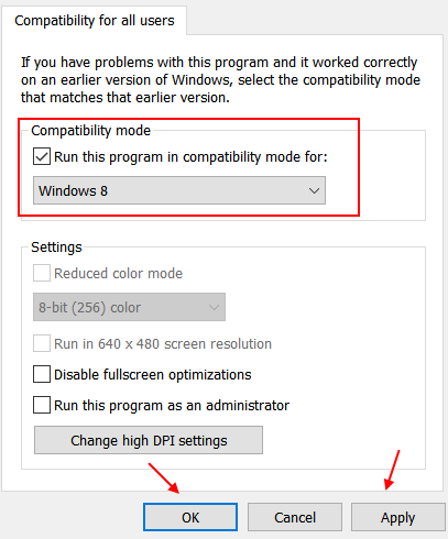 Compatibility Mode Win8
