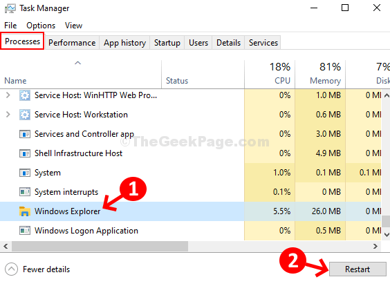 Task Manager Memproses Restart Windows Explorer