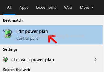Start Search Power Plan Edit Power Plan