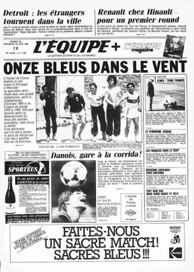 La prima pagina dell'Équipe del 23 giugno 1984