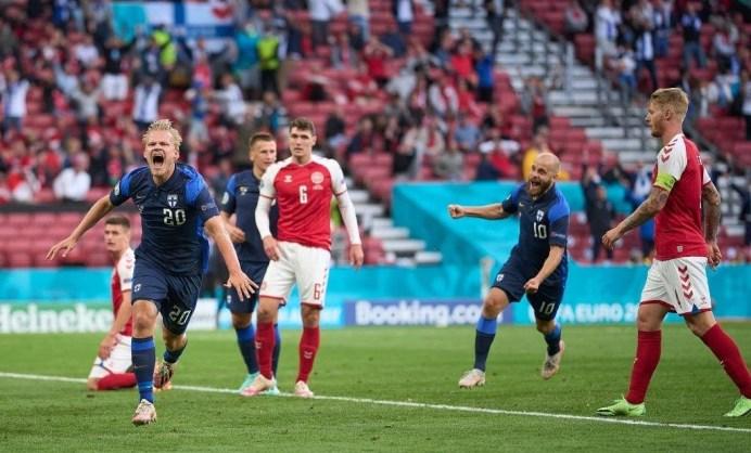 JOEL POHJANPALO in gol contro la Danimarca