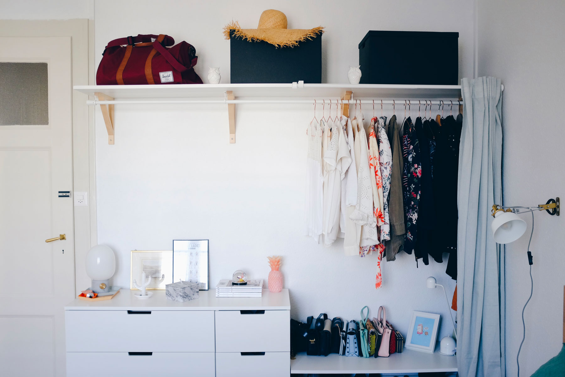 Creating Extra bedroom Storage Space With This Open Wardrobe DIY