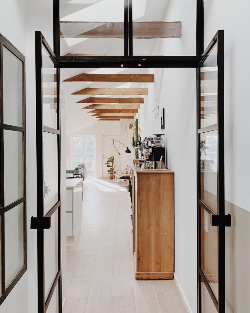 Corridor steel framed glass wall