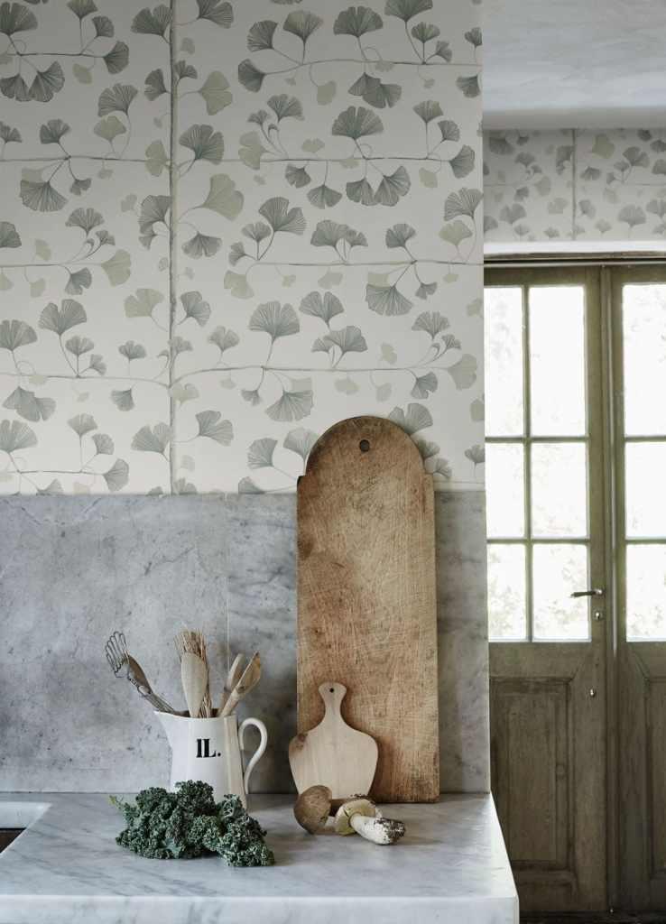 Decorating with wallpaper sandberg ginko light green