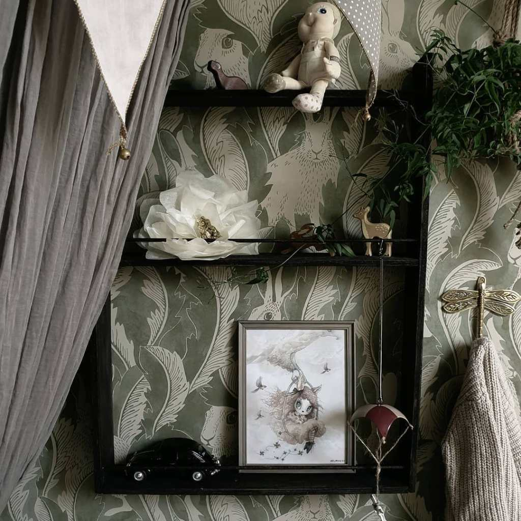 decorating with wallpaper ulricehamns by langelid von bromssen hares-in-hiding-alone