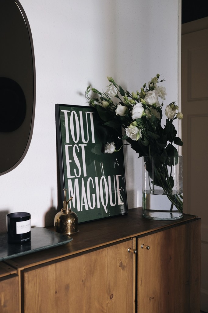 staining ikea ivar cabinets - hotel magique print and white flowers