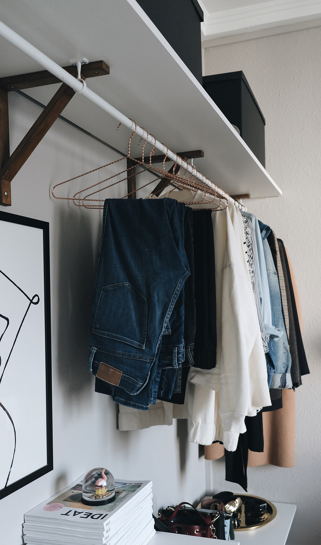 small space closet organization: hanging jeans