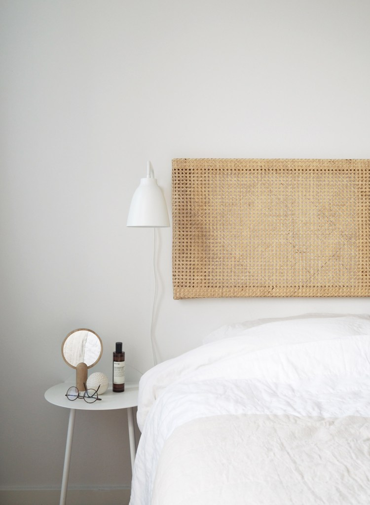 caned rattan floating headboard