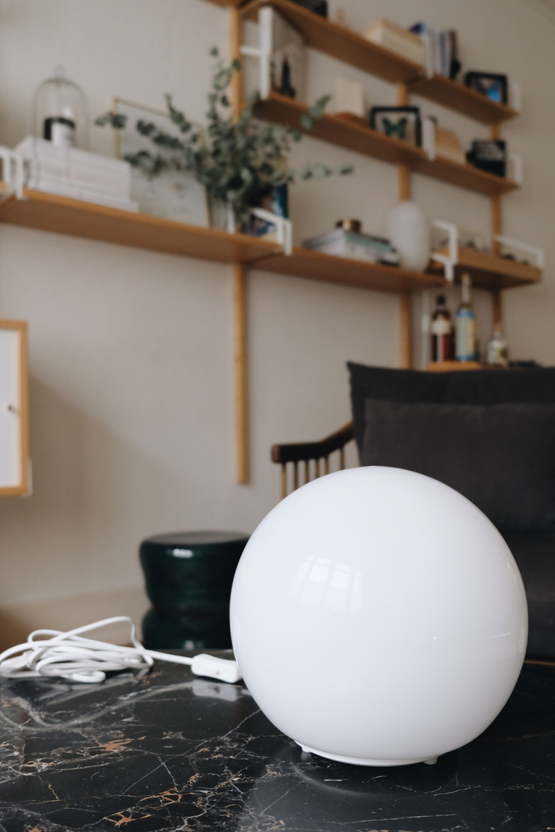 Ikea Fado lamp on marble table