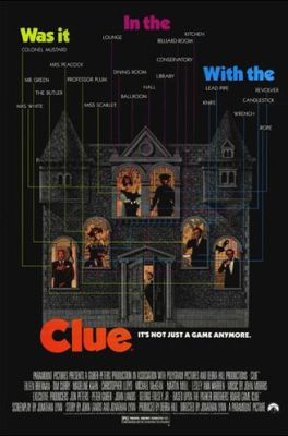Clue movie poster - parody, mystery genre