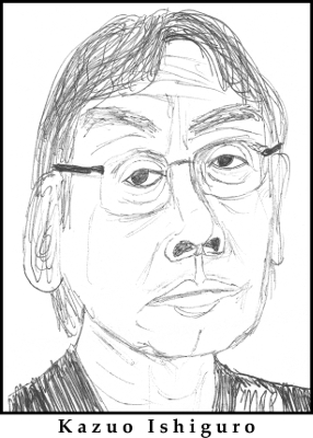 Kazuo Ishiguro Sketch by M.R.P. - Never Let Me Go - love, memoir