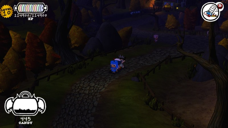 Costume Quest screenshot with overworld path - bad RPG - Double Fine Productions