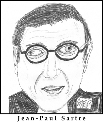 Jean-Paul Sartre Sketch by M.R.P. - Existentialism is a Humanism criticism - freedom