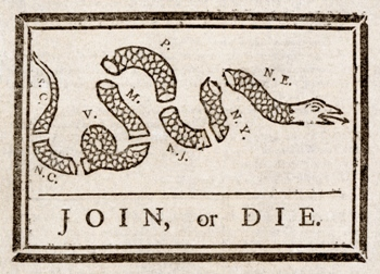 Join, or Die. by Benjamin Franklin - autobiography, manipulation, propaganda