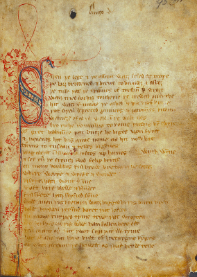 Sir Gawain and the Green Knight first page - Medieval, feminism, space, power