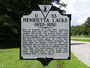 Henrietta Lacks historical marker in Clover, VA (Emw) - The Immortal Life of Henrietta Lacks - Rebecca Skloot - racism, biography, medical science, segregation