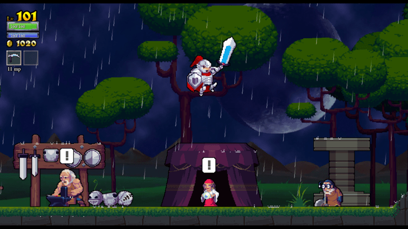 Rogue Legacy screenshot with equipment hub - Cellar Door Games - remix bosses - nonlinear difficulty scaling