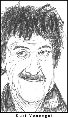 Kurt Vonnegut Sketch by M.R.P. - Cat's Cradle - arms race satire