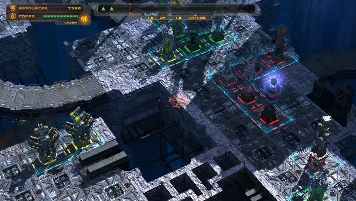 Defense Grid: The Awakening screenshot with close-up of small maze - Hidden Path Entertainment - tower defense game