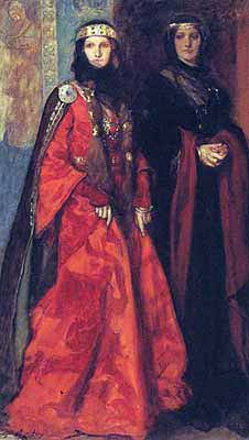 Goneril and Regan from King Lear by Edwin Austin Abbey - William Shakespeare - King Lear Act II Scene iv - Act 2 Scene 4 - repetition, meter, speech, analysis