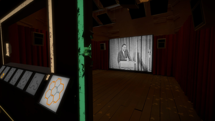 The Witness screenshot with clip of Richard Feynman in projector room - Jonathan Blow, Thekla - analysis, deconstruction, meditation