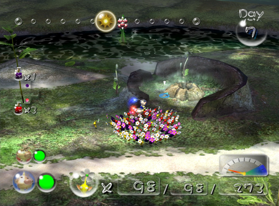 Pikmin 2 screenshot with cave entrance - Nintendo, Pikmin, comparison, analysis