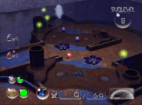 Pikmin 2 screenshot with blue pikmin in underground region - Nintendo, Pikmin, comparison, analysis