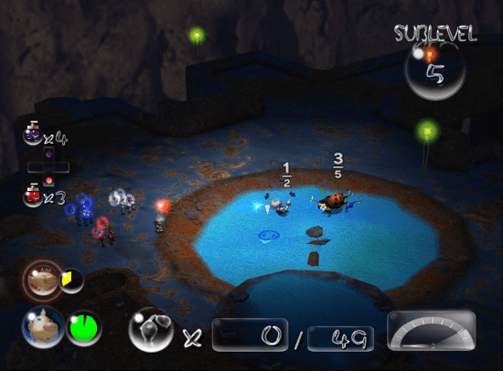 Pikmin 2 screenshot with one leader being carried by pikmin - Nintendo, Pikmin, comparison, analysis