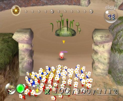 Pikmin screenshot with balanced team heading into battle - Nintendo, Pikmin 2, comparison, analysis