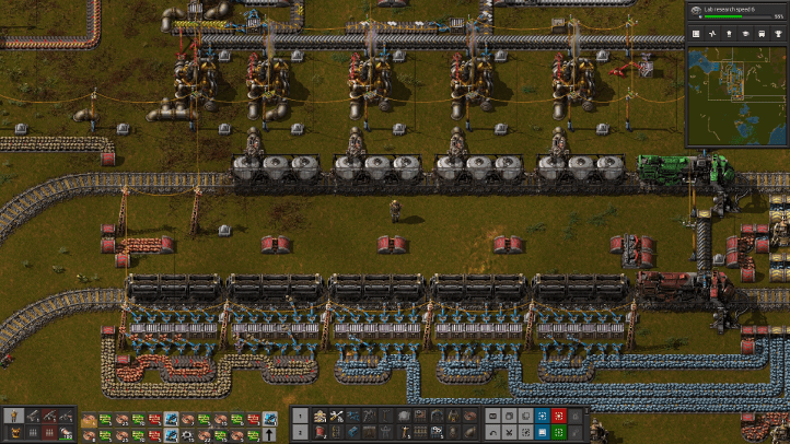 Factorio screenshot with oil and ore delivery trains - Wube Software, environmentalism, ecocriticism, ecology