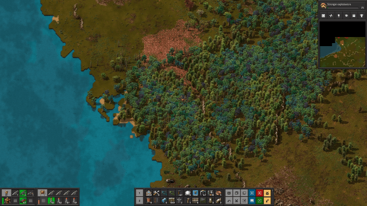 Factorio screenshot with untouched wilderness - Wube Software, environmentalism, ecocriticism, ecology