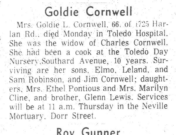 CORNWELL, Goldie, 11 May 1976 Obit 2