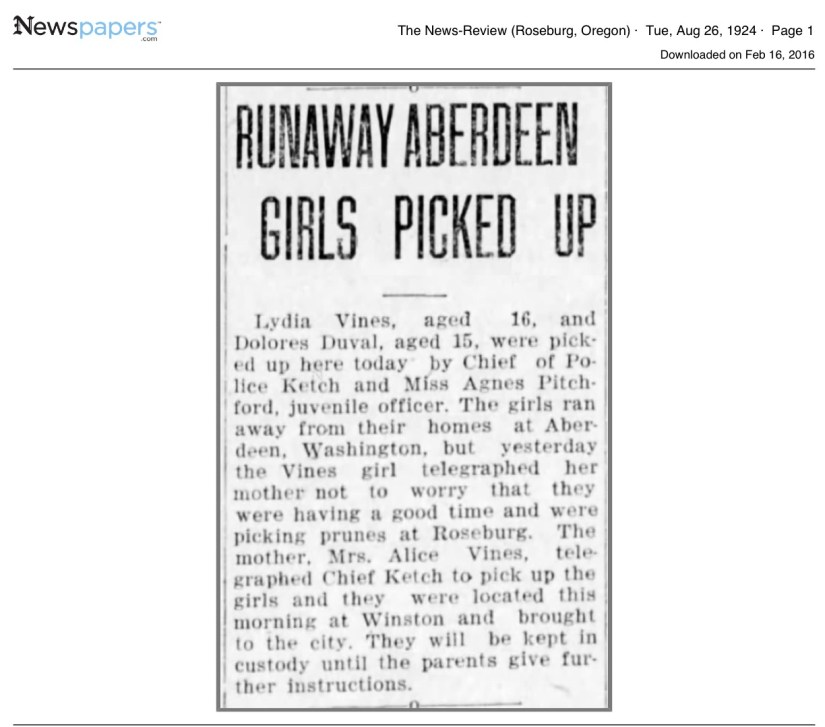 Dolores Duval, 1924 Runaway Article