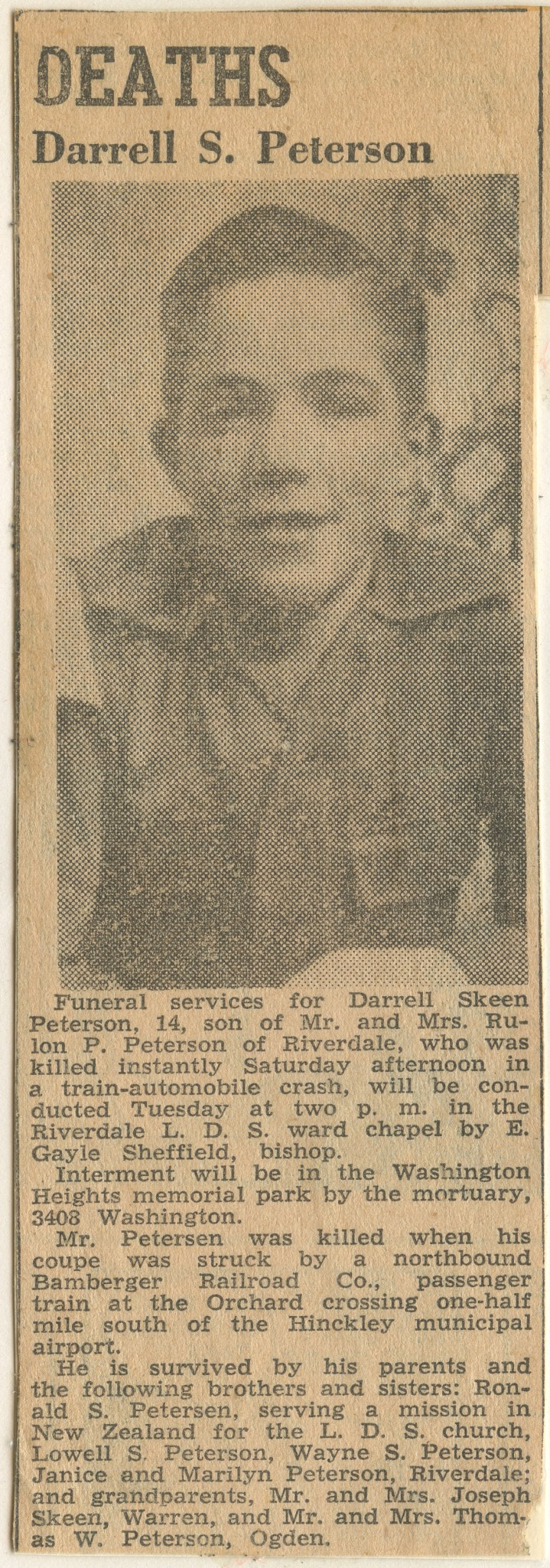 PETERSON, Darrell Skeen, first obitutary, 24 November 1947