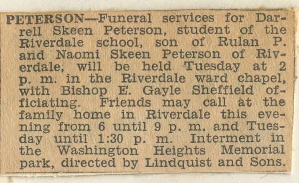 PETERSON, Darrell Skeen, Funeral Announcement, 24 November 1947