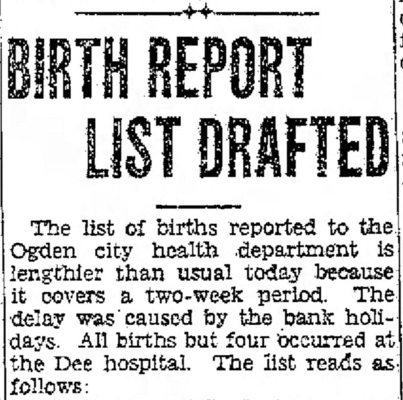 PETERSON, Darrell Skeen, The Ogden Standard Examiner Sun Mar 12 1933, heading