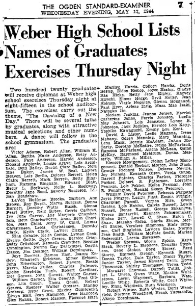 PETERSON, Ronald Skeen, HS Grad list, The Ogden Standard Examiner Wed May 17 1944