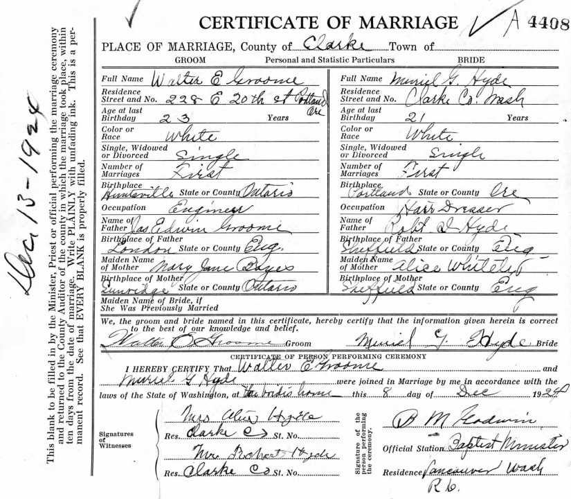 HYDE, Muriel G and Walter E Groome, 1924 Marriage Record