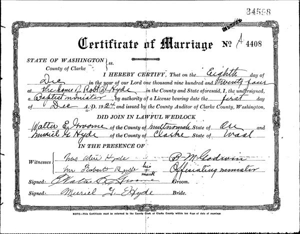 HYDE, Muriel Grace and Walter E Groome, 1924 Marriage Certificate