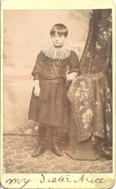WHITELEY, Alice as a child in England