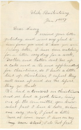 ELLIS, Frederick William letter to Susan Kaziah Davis, 1 January 1887, page 1