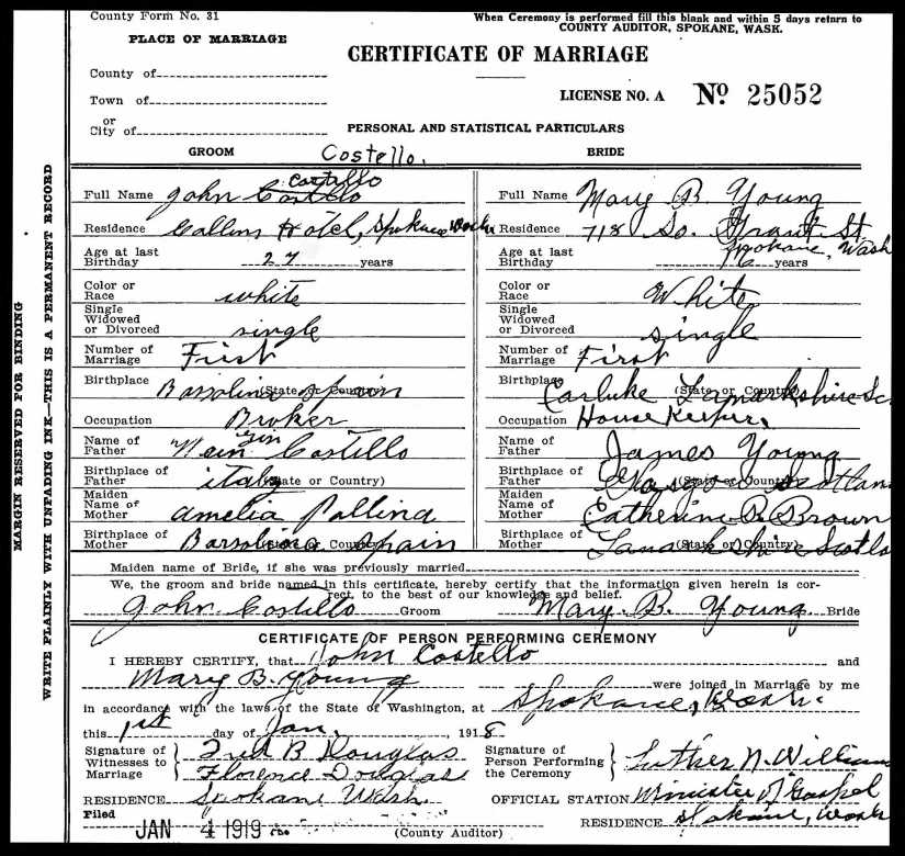 COSTELLO, John & Mary Brown Young, 1919 Marriage Record