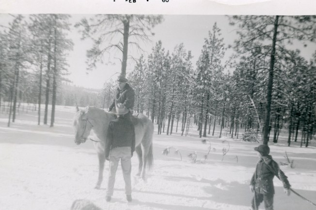 COSTELLO, John & Dan, Feb 1960 with horse, 2